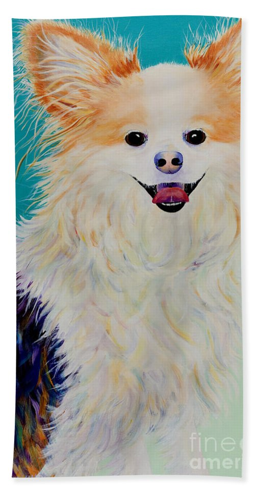 Animal Bath Towel featuring the painting Baxter by Pat Saunders-White