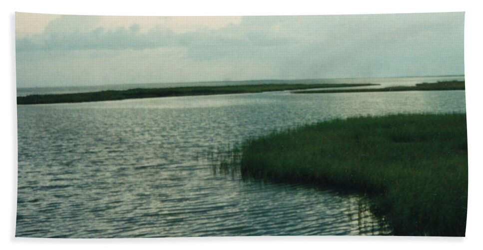 Bay Bath Sheet featuring the photograph Bay And Marsh 1 by Cindy New