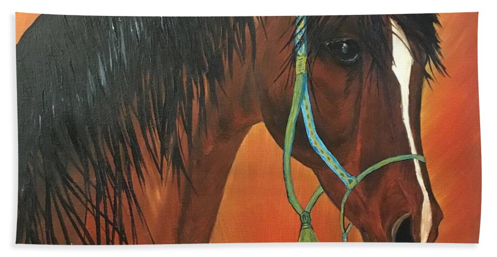 Bay Arabian Stallion Bath Sheet featuring the painting Bay Arabian by Francine Spagnuolo