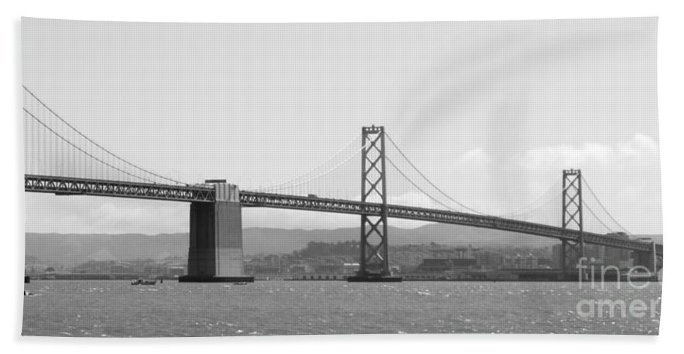 San Francisco Hand Towel featuring the photograph Bay Bridge In Black And White by Carol Groenen