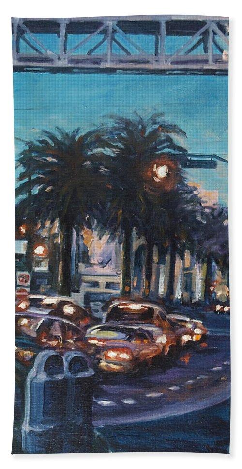 City Scape Bath Sheet featuring the painting Bay Bridge by Rick Nederlof
