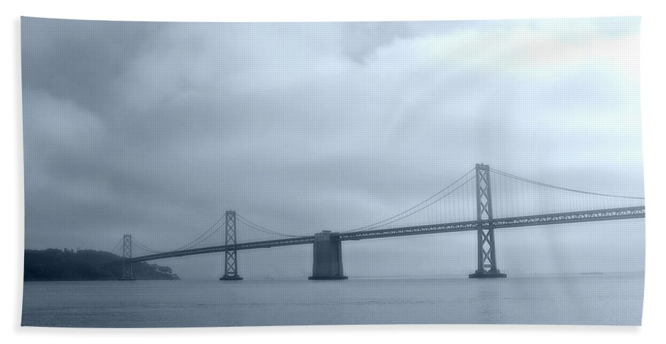 Bay Bath Sheet featuring the photograph Bay Bridge by Tom Reynen