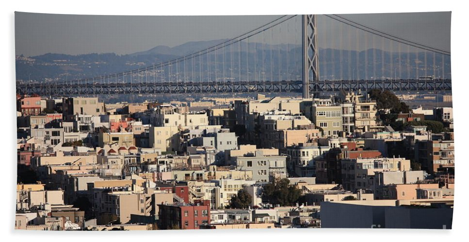 San Francisco Hand Towel featuring the photograph Bay Bridge With Houses And Hills by Carol Groenen