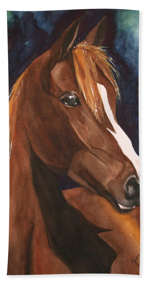 Horse Bath Towel featuring the painting Bay On Blue 2 by Jean Blackmer