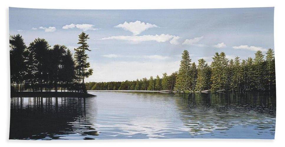 Landscapes Hand Towel featuring the painting Bay On Lake Muskoka by Kenneth M Kirsch