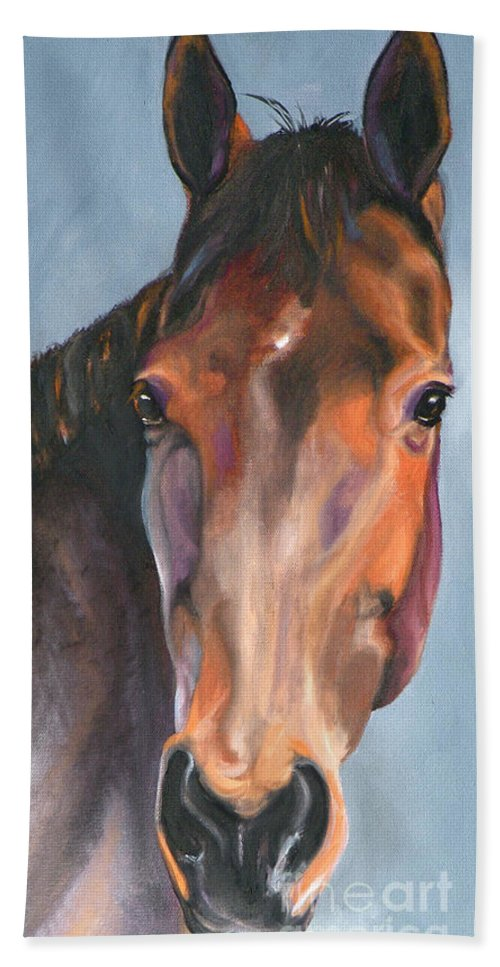 Horse Hand Towel featuring the painting Thoroughbred Royalty by Susan A Becker