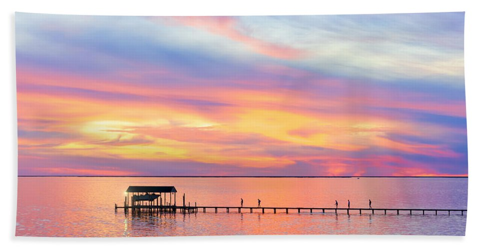 Black Pointe Hand Towel featuring the photograph Bay Sunset by Janet Fikar