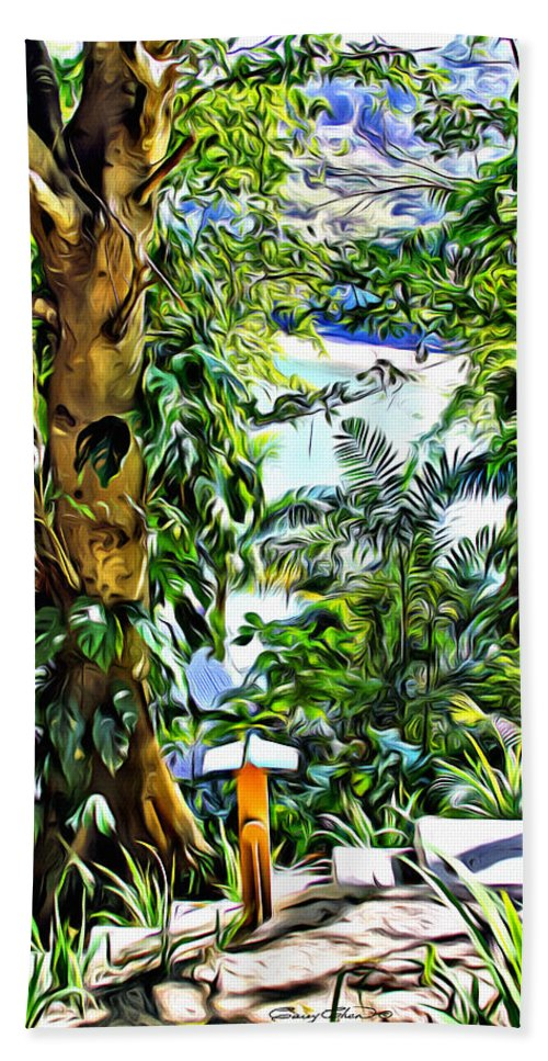 Bay Hand Towel featuring the digital art Bay View Tobago by Anthony C Chen