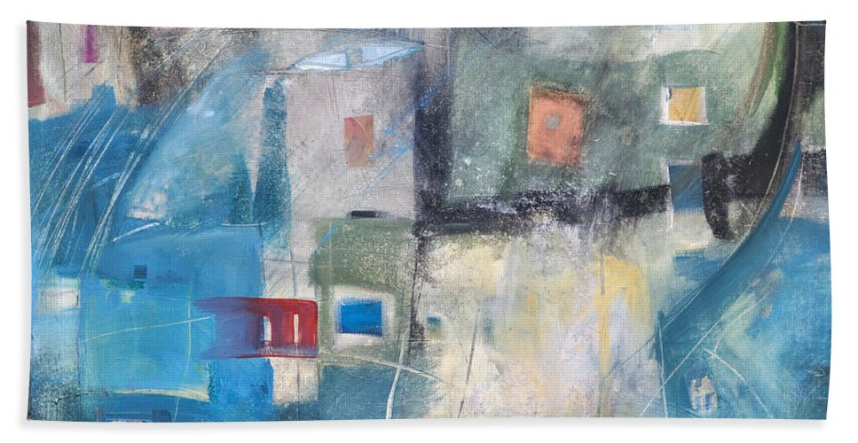 Abstract Bath Towel featuring the painting Bayer Works Wonders by Tim Nyberg