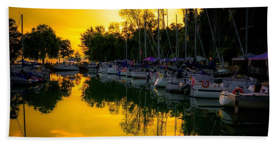 Bayfield Hand Towel featuring the photograph Bayfield Marina by Karl Anderson