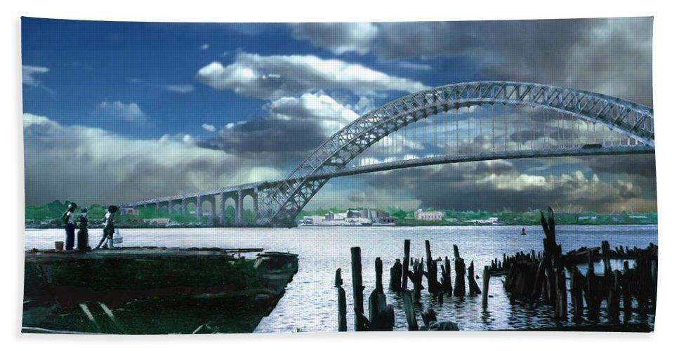 Seascape Hand Towel featuring the photograph Bayonne Bridge by Steve Karol
