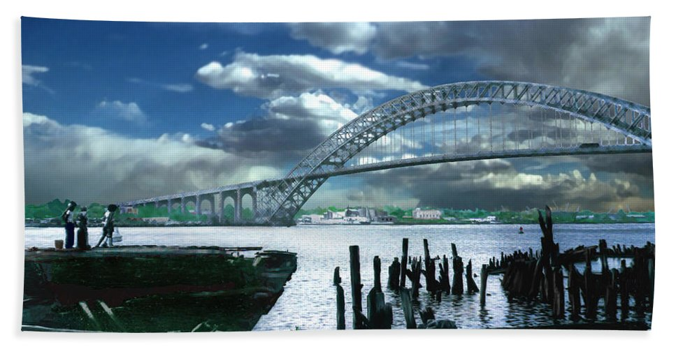 Seascape Bath Towel featuring the photograph Bayonne Bridge by Steve Karol