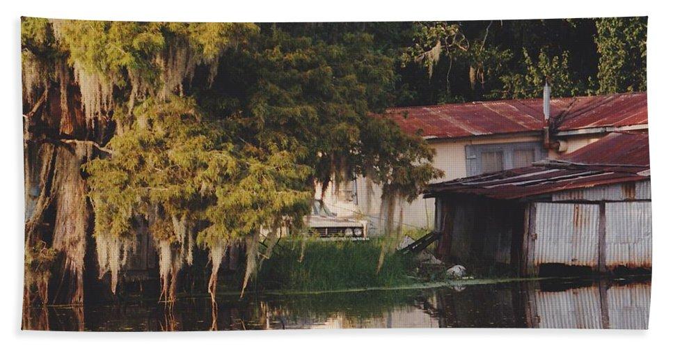 Bayou Bath Sheet featuring the photograph Bayou Shack by Michelle Powell