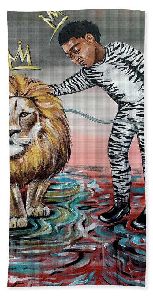 Son Hand Towel featuring the painting Be Courageous My Son by Artist RiA