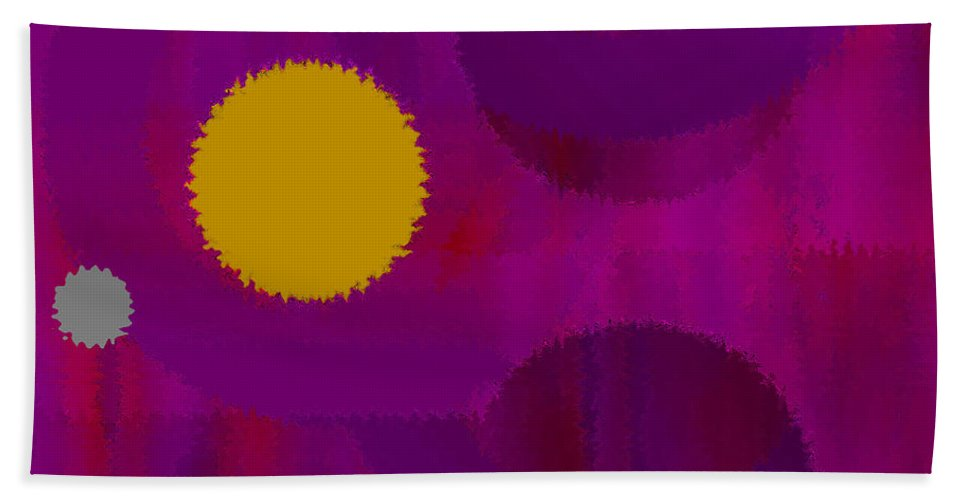 Abstract Hand Towel featuring the digital art Be Happy by Ruth Palmer