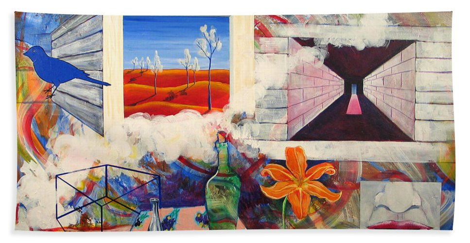 Landscape Bath Towel featuring the painting Be Here Now by Rollin Kocsis