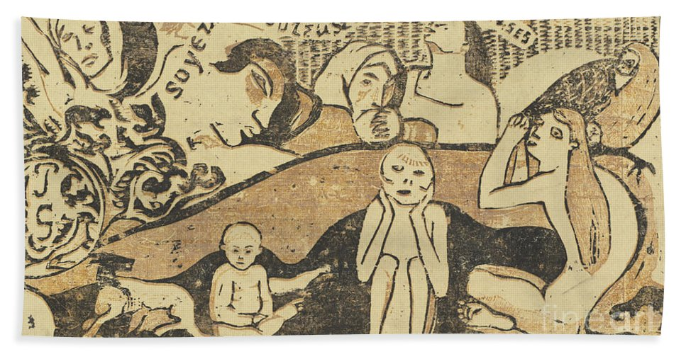 Hand Towel featuring the drawing Be In Love And You Will Be Happy (soyez Amoureuses, Vous Serez Heureuses) by Paul Gauguin