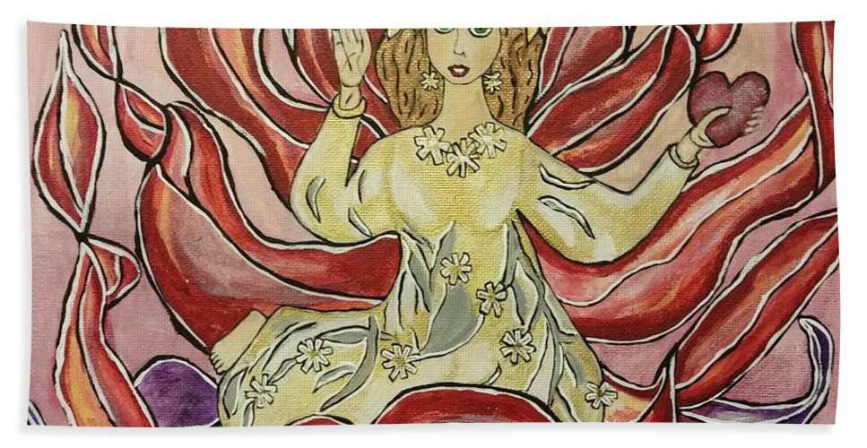 Open Red Petal Flower Hand Towel featuring the painting Be Open To Love by Diana Riedling