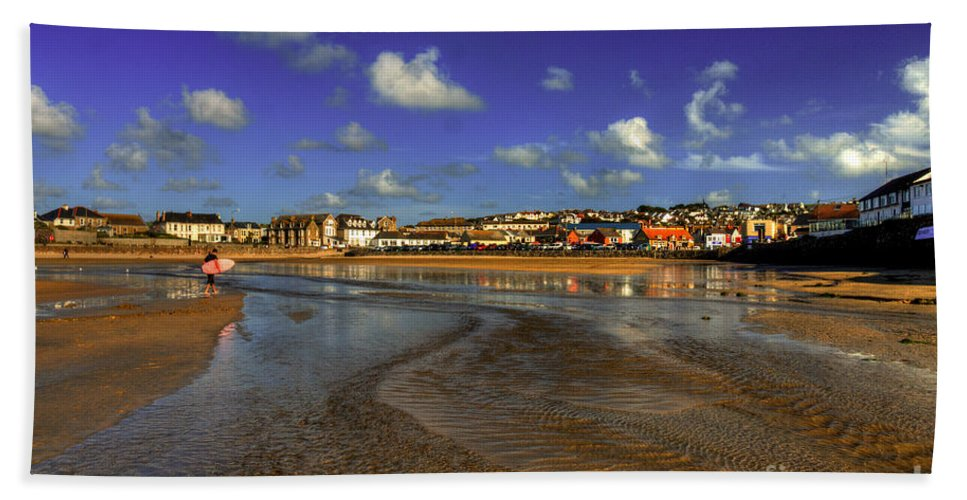 Perranporth Hand Towel featuring the photograph Beach At Perranporth by Rob Hawkins