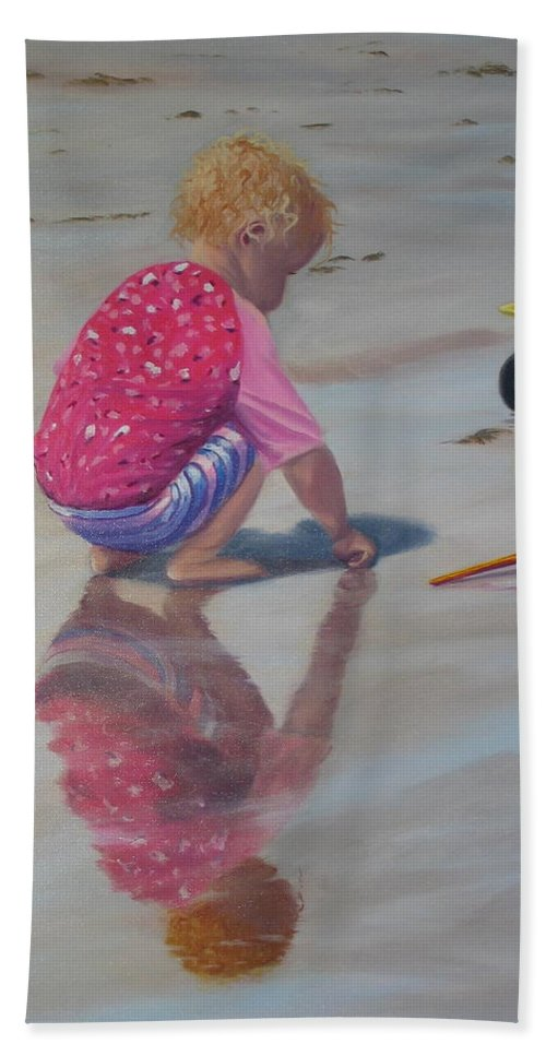 Baby Hand Towel featuring the painting Beach Baby by Lea Novak
