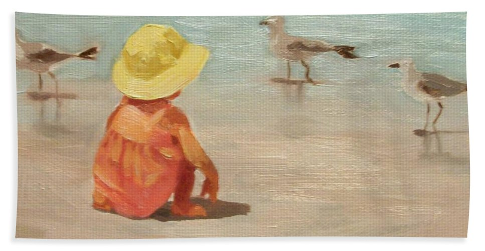 Beach Hand Towel featuring the painting Beach Baby by Margaret Aycock