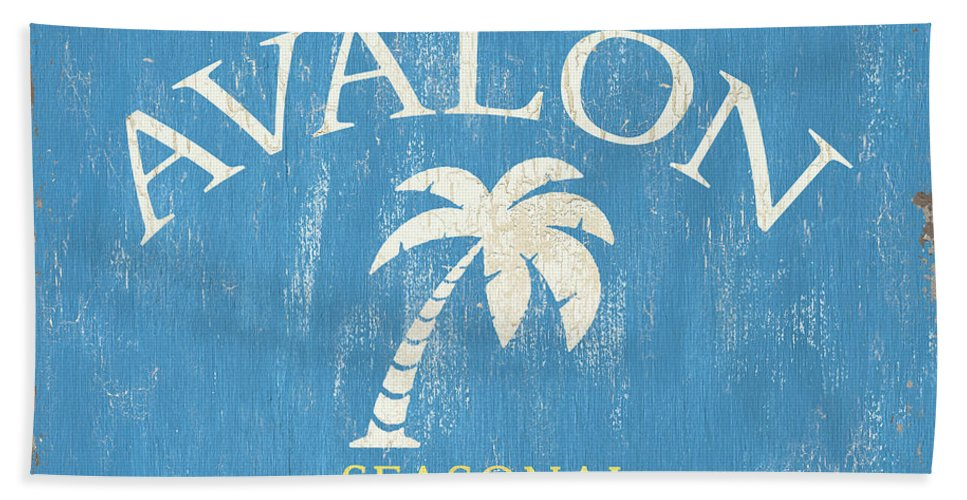 Beach Bath Towel featuring the painting Beach Badge Avalon by Debbie DeWitt