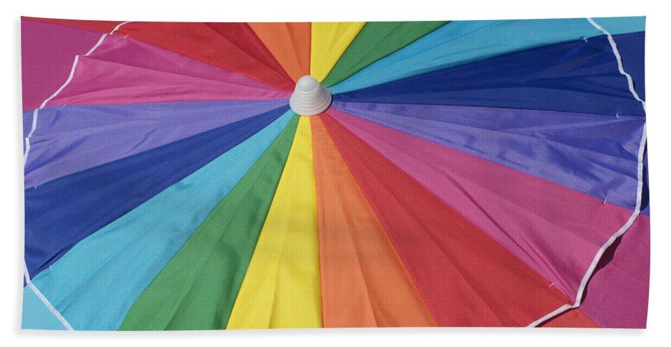 Umbrella Hand Towel featuring the photograph Beach Brolly by Ann Horn