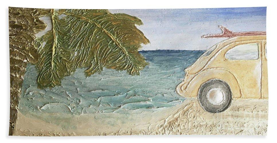 Beach Bug Bath Sheet featuring the painting Beach Bug by Christine Dekkers