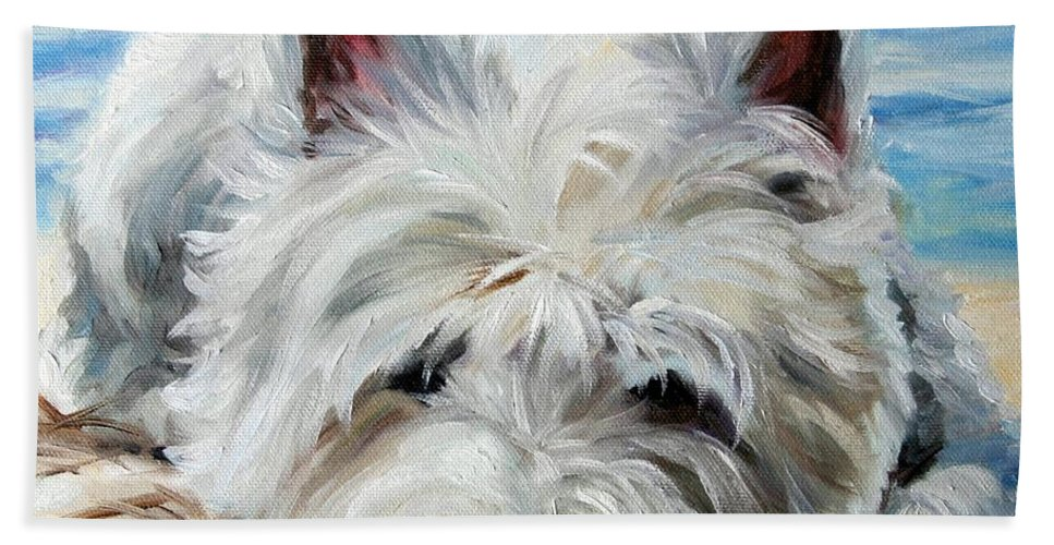 Art Hand Towel featuring the painting Beach Bum by Mary Sparrow