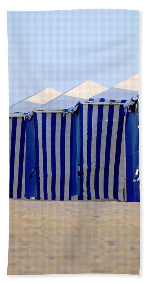 Beach Ocean Vacation Cabans Blue Tents Hand Towel featuring the photograph Beach Cabanas by Jill Reger