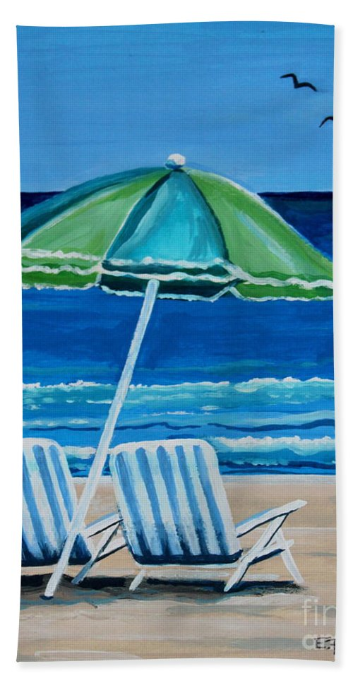 Beach Bath Sheet featuring the painting Beach Chair Bliss by Elizabeth Robinette Tyndall