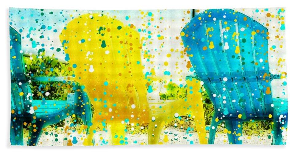 Beach Chair Bath Sheet featuring the painting Beach Chair Print by Barbara Chichester