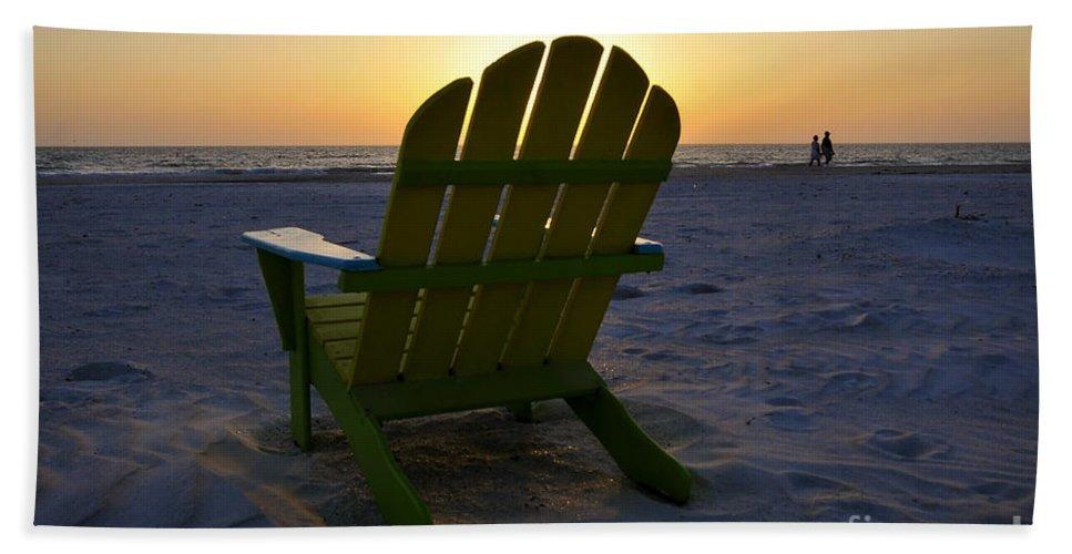 Sunset Bath Sheet featuring the photograph Beach Chair Sunset by David Lee Thompson