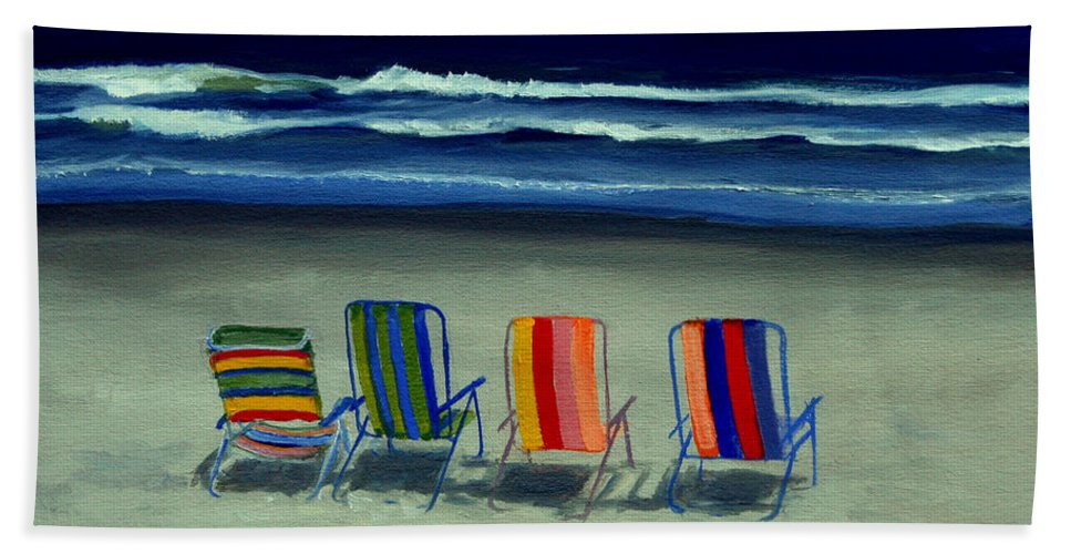 Beach Hand Towel featuring the painting Beach Chairs by Paul Walsh