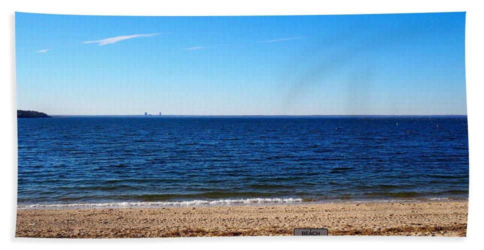 Beach Bath Sheet featuring the photograph Beach Closed by Patrick Byrnes