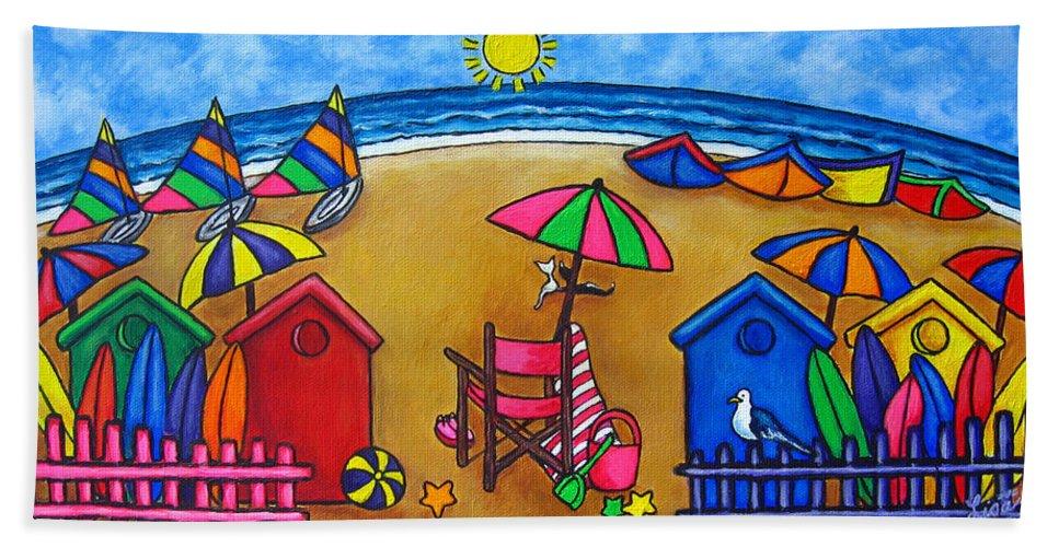 Beach Bath Towel featuring the painting Beach Colours by Lisa Lorenz