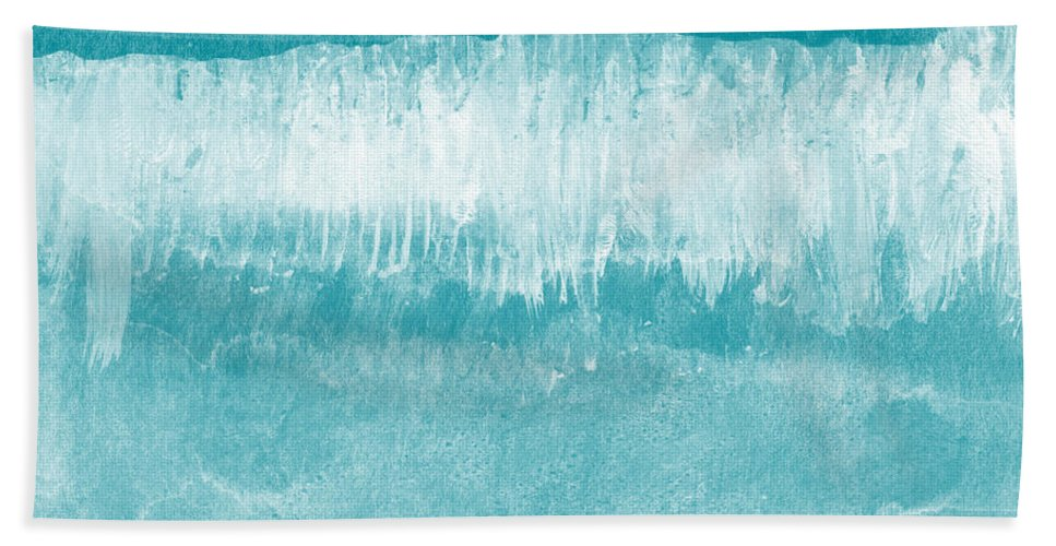 Abstract Bath Towel featuring the mixed media Beach Day Blue- Art by Linda Woods by Linda Woods
