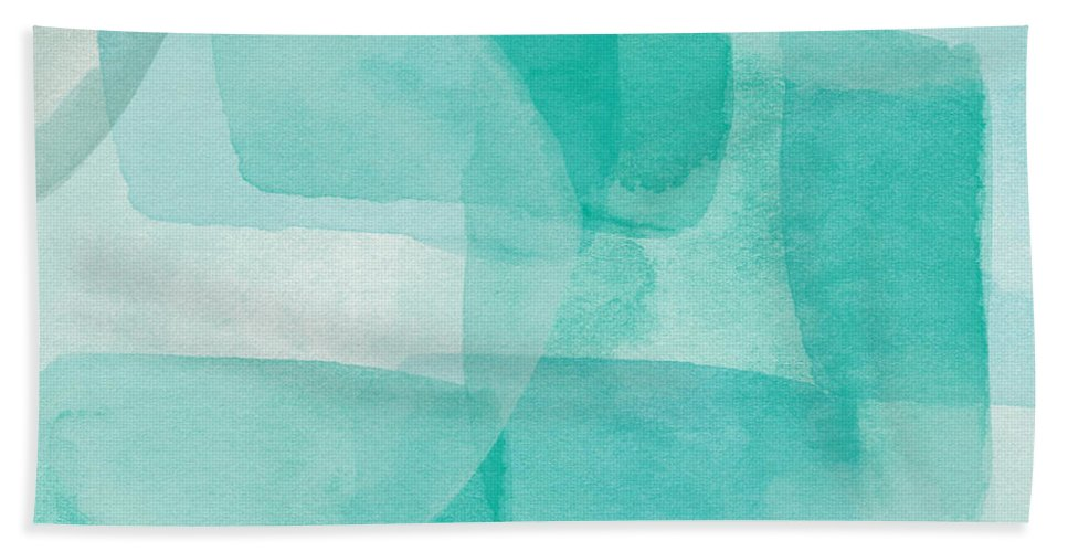 Abstract Bath Towel featuring the painting Beach Glass- Abstract Art By Linda Woods by Linda Woods