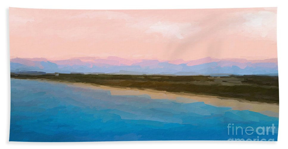 Anthony Fishburne Hand Towel featuring the mixed media Beach Happyness by Anthony Fishburne