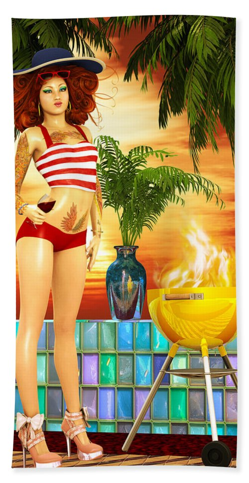 3d Bath Towel featuring the digital art Beach House Bbq Retro Bikini by Grant Prescott
