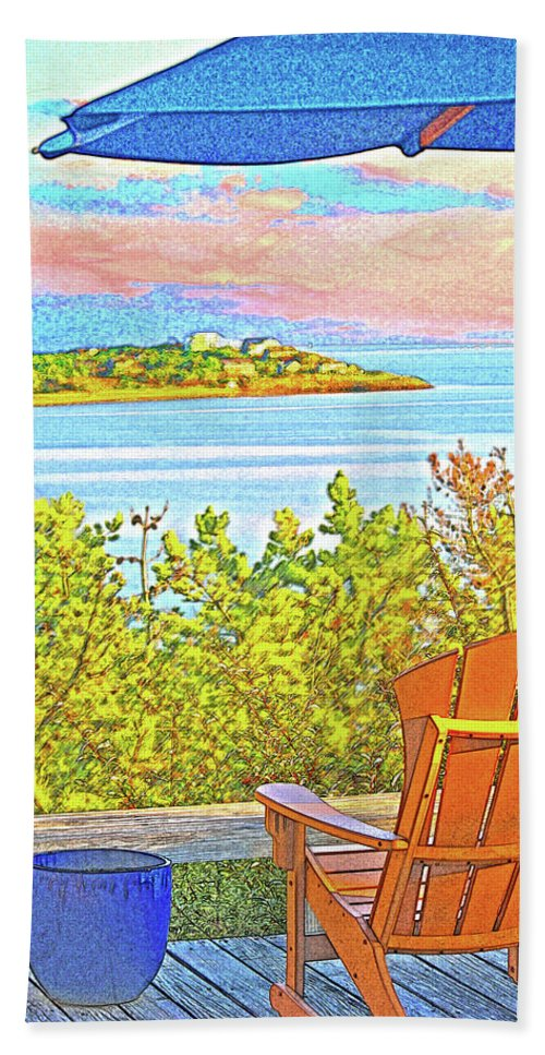 Summer Bath Towel featuring the digital art Beach House On The Bay by William Sargent