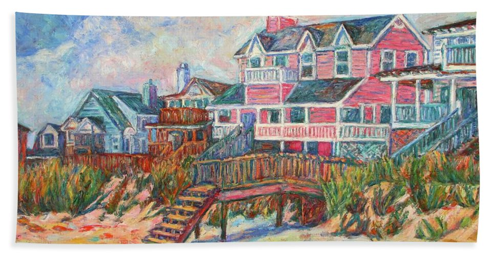 Landscape Bath Sheet featuring the painting Beach Houses At Pawleys Island by Kendall Kessler