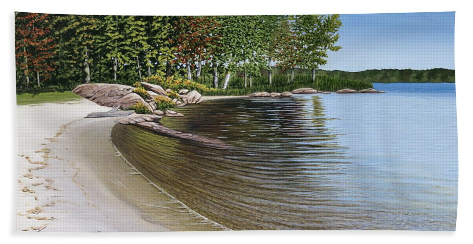 Landscapes Hand Towel featuring the painting Beach In Muskoka by Kenneth M Kirsch