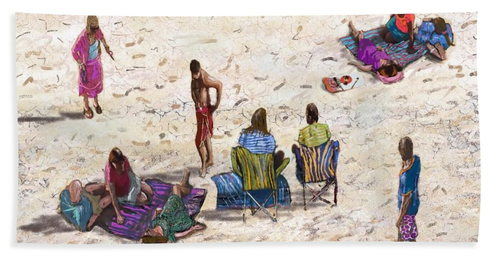 Hand Towel featuring the digital art Beach Life Cornwall by Kevin Collins