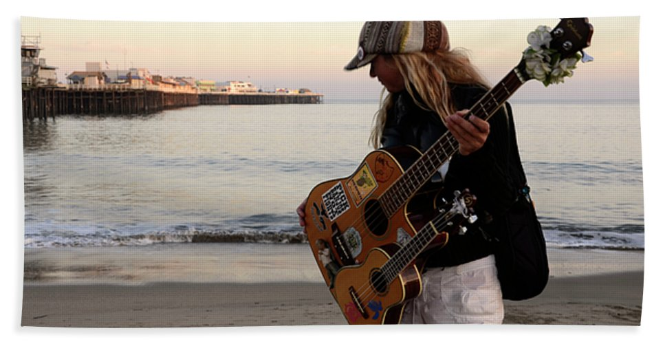 Pier Hand Towel featuring the photograph Beach Musician by Bob Christopher