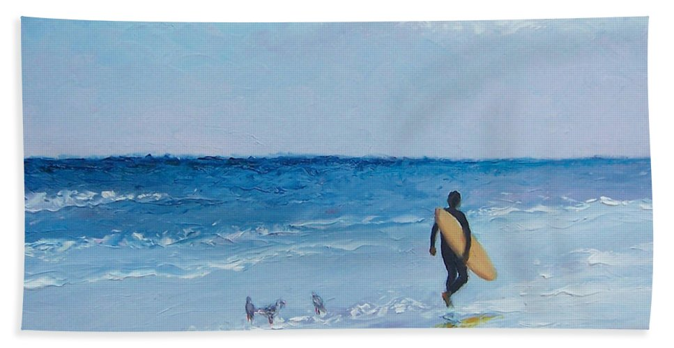 Beach Hand Towel featuring the painting Beach Painting - The Lone Surfer by Jan Matson