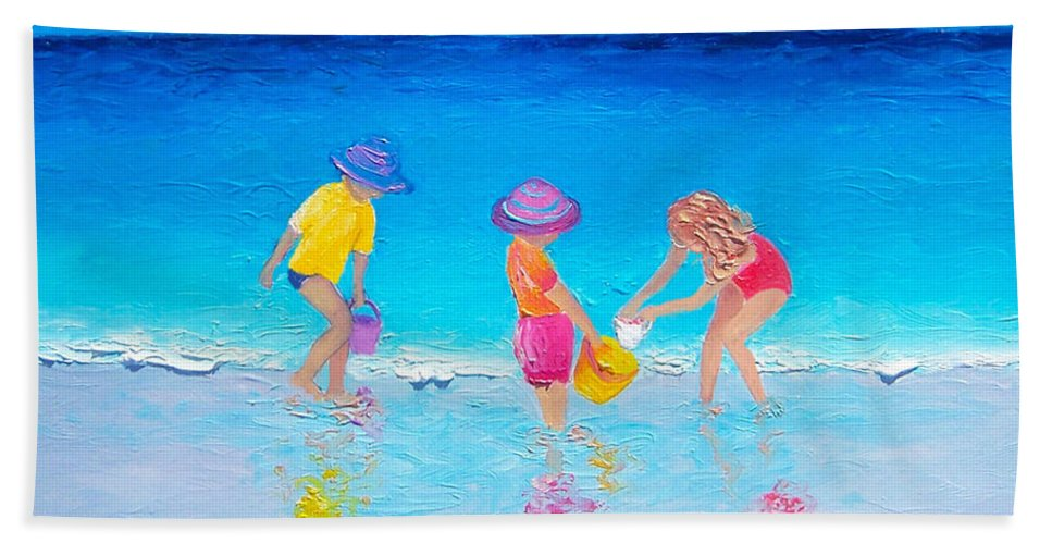 Beach Hand Towel featuring the painting Beach Painting - Water Play by Jan Matson