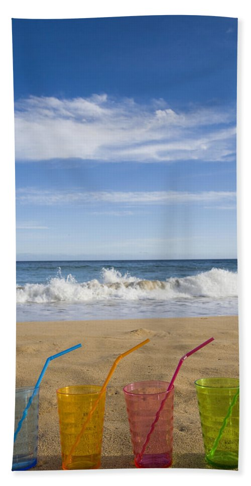 Color Bath Sheet featuring the photograph Beach Party by Karen Ulvestad