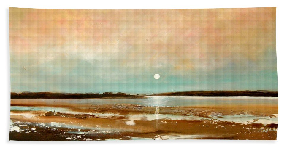 Beach Bath Sheet featuring the painting Beach Reflections by Toni Grote