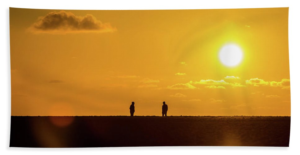 Love Hand Towel featuring the photograph Beach Romance At Sunset by Andrew Balcombe